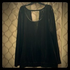 Torrid black long sleeve-faux leather accent lined
